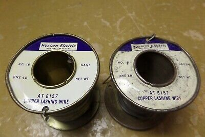 2 Vintage Western Electric Copper Lashing Wire At 6157 16 Gauge 1 Lb Rolls