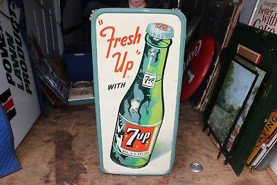 """Rare Large Vintage 1954 7Up 7 Up Soda Pop Bottle Gas Oil 48"""" Embossed Metal Sign"""