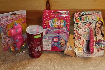 UNICORN LOT 5 Items Gift Thermos Travel Mug Putty Slime Popper Necklace Headband (Unicorn Items)