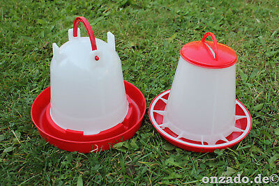 1 kg Futterautomat und 1,5 L Stülptränke Hühner Tränke Futterspender Fasane Hahn