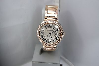 NEW CARTIER BALLON BLEU 18k ROSE GOLD 42MM DIAMOND ENCRUSTED WATCH W69006Z2