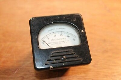 Vtg Professional Equipment Co Ammeter Steampunk Milliamperes 0-25 Dc