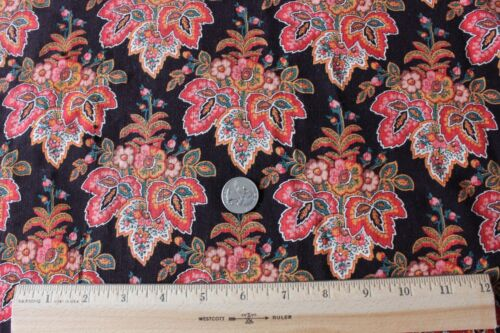 Antique Printed Wool Chalis Fabric c1860~Medallion Motif,Vibrant Colors~Quilters