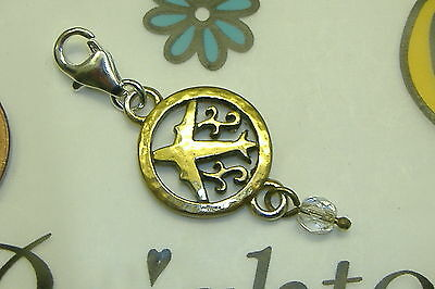 NWOT Brighton fly airplane crystal travel gold plated lobster claw clasp (Airplane Charm Gold Plated)