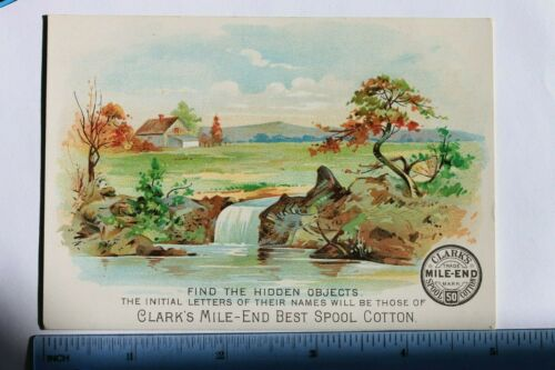 Victorian puzzle trade card CLARK'S MILE-END SPOOL COTTON, EAST NEWARK, N.J.