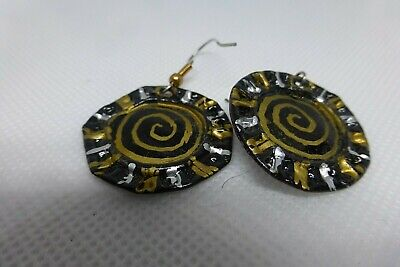 Fashion COCA -COLA BOTTLE CAP pierced EARRINGS hand painted gold black silver