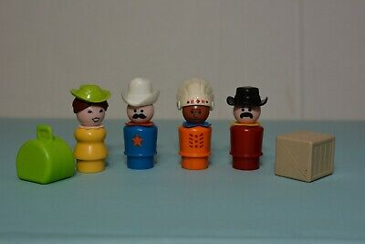 Vintage Fisher Price Little People Western Town Lady Sheriff Luggage Indian Rare