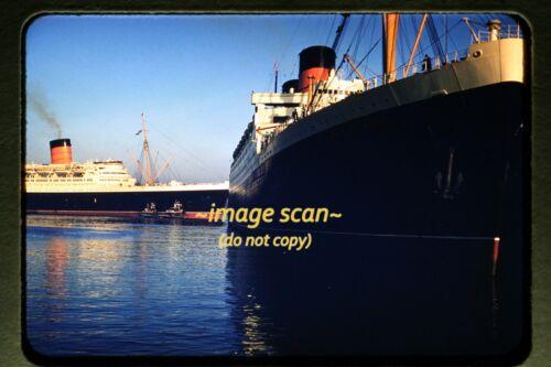 1956 RMS Queen Elizabeth & Mauretania Passenger Ships at NYC, Original Slide d3a