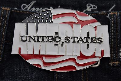 Men Women Silver Metal Buckle Fashion United States Of America Flag USA 4th July