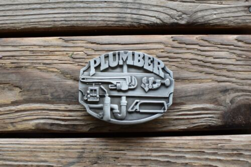 Vintage 1987 Pewter Plumber Belt Buckle K50