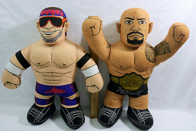 "WWE Mattel Brawlin Buddies Plush Stuffed Wrestler 16""-The Rock & Zack Ryder"