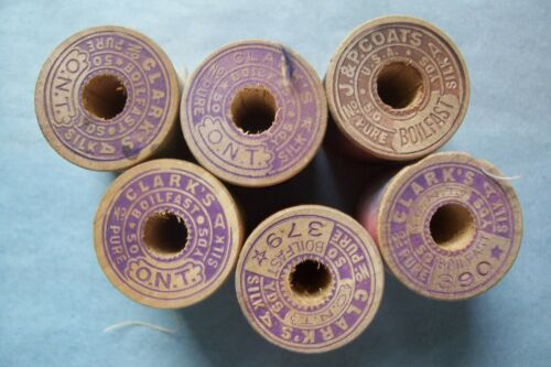 6 Antique  Wooden Spools  Silk  Embroidery Sewing Thread Clark