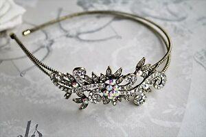 Bridal Bridesmaid Prom - Antique style Crystal Side Tiara headband