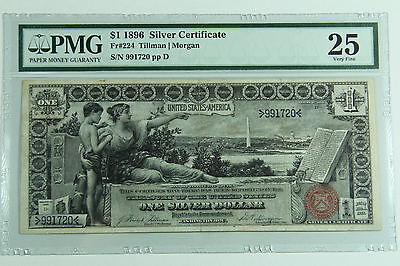 1896 $1 SILVER CERTIFICATE PMG 25 FINE EDUCATIONAL NOTE PREMIUM QUALITY