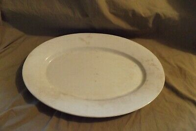 Lovely Old Tea Stained Large Round Plate Antique French Ivory Ironstone Round Serving Plate Badonviller c1930 Ironstone Round Platter