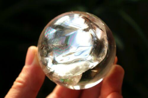 Rainbow 207g NATURAL clear QUARTZ CRYSTAL sphere ball healing k14