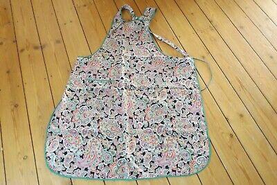 vintage cotton apron with pocket paisley pattern