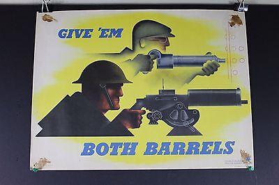 "Rare Original WWII Give Em Both Barrels Production Poster Jean Carlu 15""x20"" WW2"