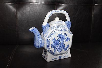 Vintage Porcelain Chinese Teapot Unique Shaped - Blue & White