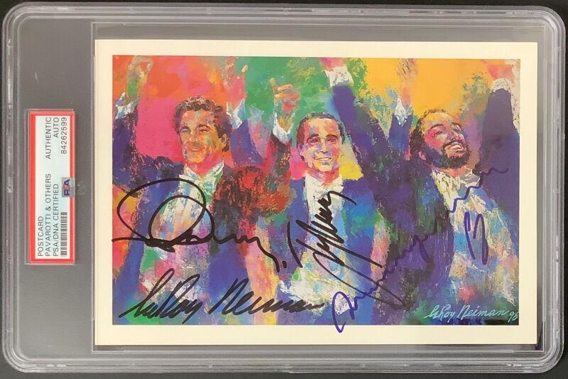 Luciano Pavarotti Signed Neiman Postcard 3 Tenors Autographs 4 Sigs RARE PSA/DNA