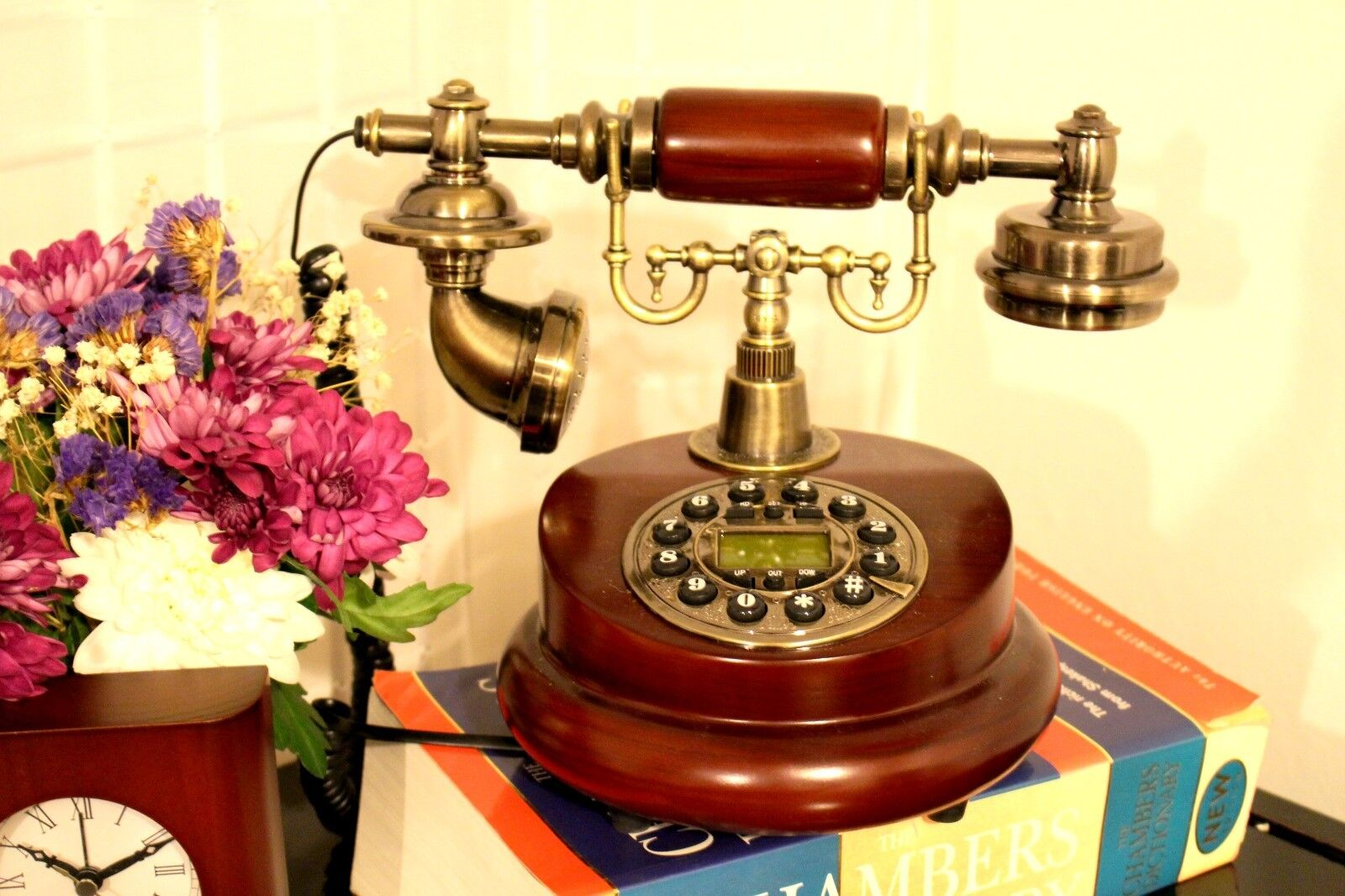 New Antique Button Dial Telephone Retro Vintage Wooden Home Decor Landline Cord