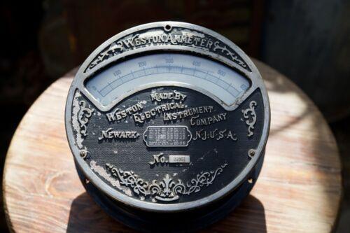 "Large Antique American Industrial Weston Electrical Ammeter Ornate Meter 8 5/8"""