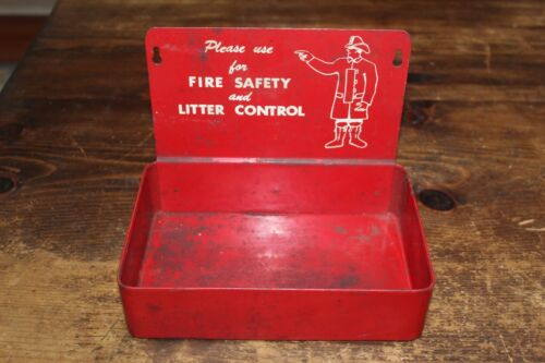 VINTAGE FIREMAN SAFETY AND LITTER CONTROL Wall Mount Display, Advertising, Solid