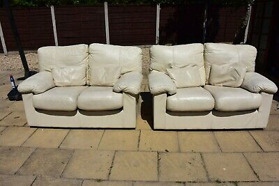 Real Leather sofas - Klaussner - Cream