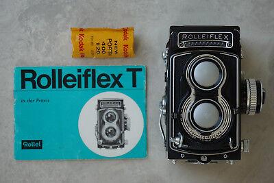 Rolleiflex T black, mit Carl Zeiss Tessar 3,5 75mm.