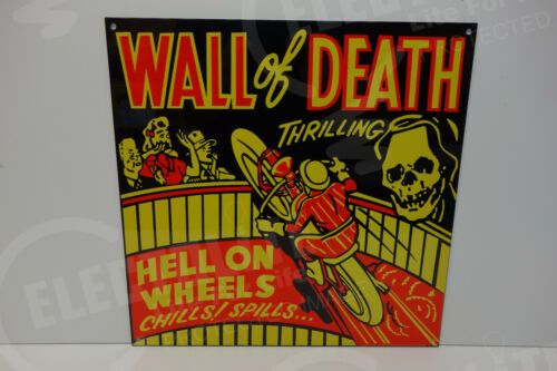 WALL OF DEATH MOTORCYCLE HELL ON WHEELS PORCELAIN SIGN CIRCUS INDIAN SKULL BIKE