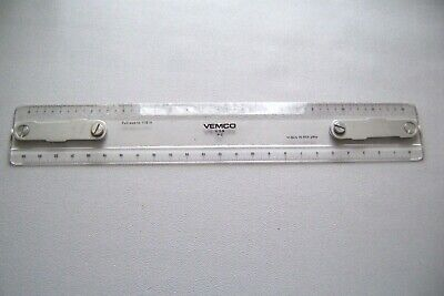 "Vintage Vemco 12"" Drafting Tools Machine Scale Ruler P-2"