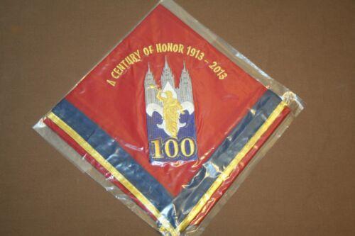 BSA LDS 100 YEARS OF SCOUTING RED NECKERCHIEF. RARE. MORMON UTAH