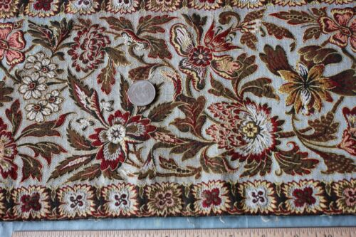 Antique c1870 French Woven Jacquard Exotic Floral Wool & Silk Border Fabric