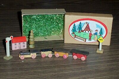 Vintage Christmas Miniature Train Set Wooden Germany in Original Box