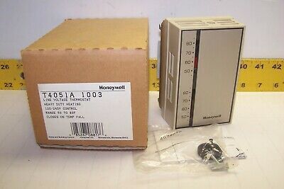 New Honeywell Heavy Duty Line Voltage Thermostat 120240v 50-80f T4051a1003