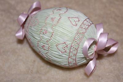 Vtg Large Embroidered Fabric Easter Egg Ornament Push Pins Styrofoam Handmade