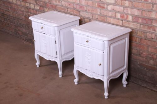 Antique French Provincial Louis XV White Lacquered Nightstands, Newly Refinished