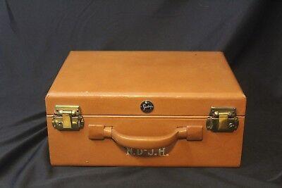 Vintage 1950's Shortrip Short Trip Train Luggage Make Up Case Leather - NO KEYS