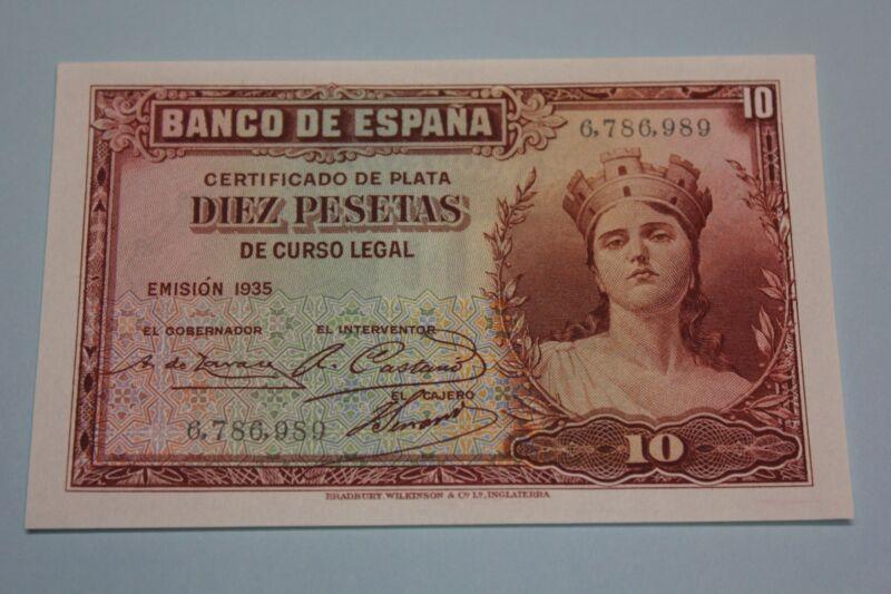 1935 10 PESETAS CERTIFICADO DE PLATA BANKNOTE SPAIN PICK#86 NO LETTER UNC
