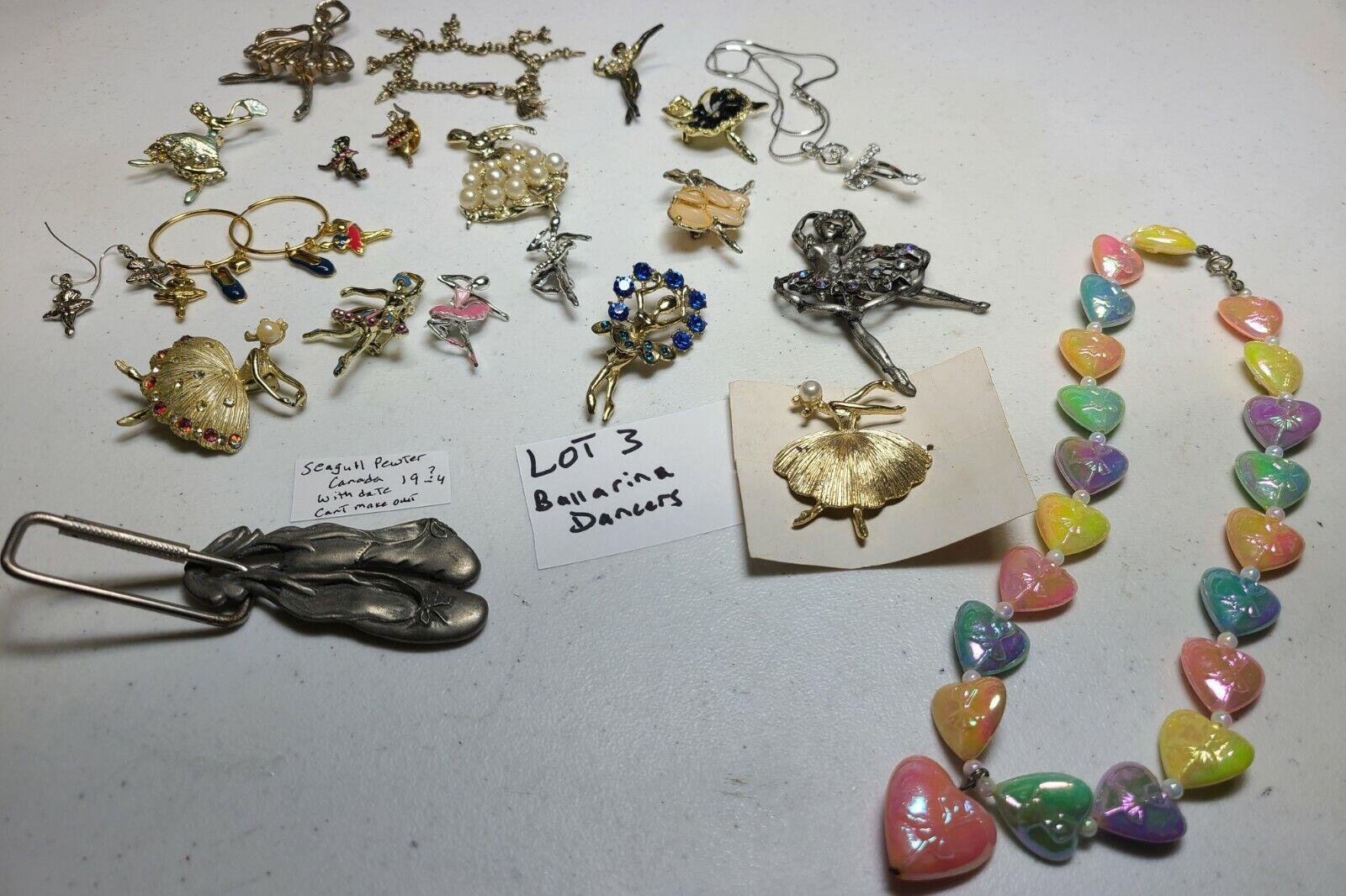 Huge Lot 24Pc All Vtg Ballerina Dancer Jewelry Rhinestone Brooch Pin Enamel  - $26.00