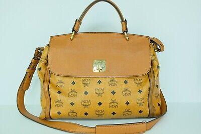 100% Authentic MCM Cognac Visetos Flap 2way Hand & Crossbody Bag With Dust Bag