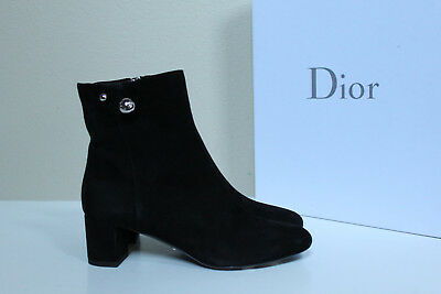 New sz 6 / 36 Christian Dior Logo Black Suede Leather Ankle Bootie Low Heel Shoe