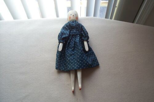 "Vtg Wood Peg Doll ""Ida"" By Fred Laughon  dressed in Antique Blue Dress Folk Art"