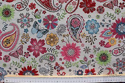 Dekostoff-Gobelin, Jacquard, B&B Fabrics, Paisley, Blumen, creme, bunt,