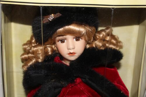 "Collectible Memories Porcelain Doll Emily 28"" NEVER OPENED NEW IN BOX Velvet"
