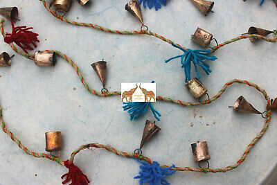 Recycled Iron Bells on Jute string Garland Outdoor Indoor Patio Party Decoration