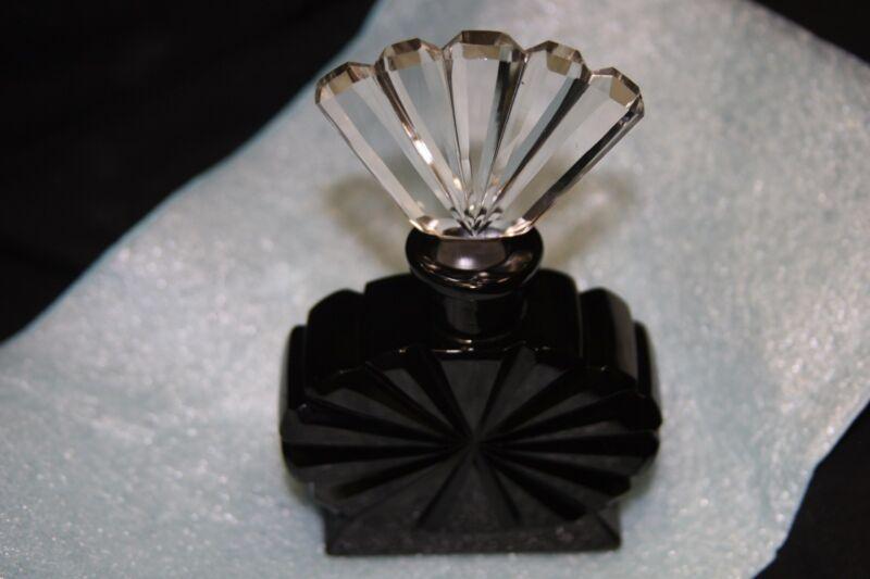 "ART DECO CZECH BLACK PERFUME BOTTLE W/DAUBER~4.5"" TALL~VINTAGE~STAMPED"