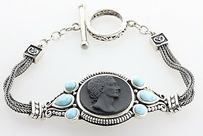 (Double Wheat Strand Sterling Silver Larimar Carved Corian Ornate Panel Bracelet)