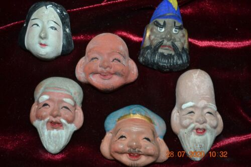 VINTAGE Small Hand painted KABUKI CLAY ORIENTAL MASKS HIGHLY DETAILED