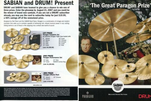 2007 2pg Print Ad of Sabian Paragon Cymbals DRUM! Prize Giveaway Neil Peart RUSH
